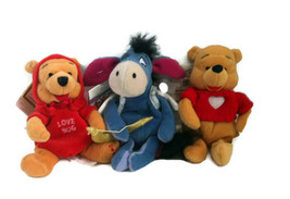 """Winnie the Pooh Firefly Cupid Eeyore Pooh Red Heart Sweater 8"""" Valentine... - $8.90"""