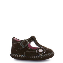 Girl's Rilo leather brown t-strap baby crib shoe - $38.98
