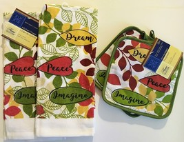 KITCHEN LINENS SET 4pc Towels Potholders Dream Peace Imagine Green Red image 1