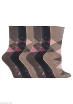 6 Pairs Womens Sockshop Cotton Gentle grip socks 4-8 uk,37-42 eu, Argyle... - £9.22 GBP