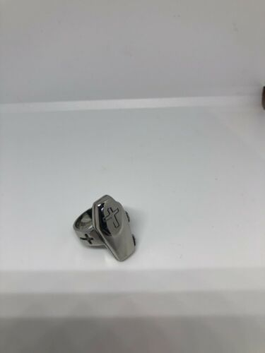 Vintage Large Stainless Steel Cross Crest Coffin Size 10.5 Men's Ring
