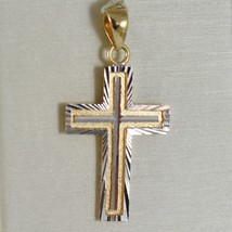 Cross Pendant Yellow Gold White 750 18K, Square & Carved, Made in Italy image 1