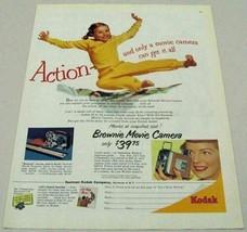 1954 Print Ad Kodak Brownie Movie Camera Little Girl in Action - $10.33
