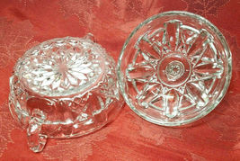 Vintage Clear Pressed Glass Clear Covered Candy Dish With Handles image 8