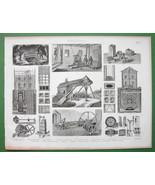 MINING Timberwork Ventilation Windlass Capstan - Original Print Engraving - $10.71