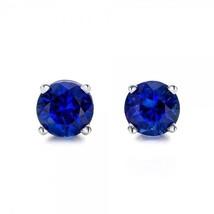 1.00 Carat Round Genuine Blue Sapphire Earrings in 14k Gold  - $399.00