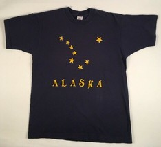 VINTAGE 80S-90S Alaska Vintage T-Shirt Blue with Yellow Stars FLAG Large - $14.20