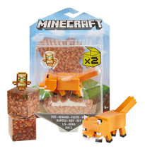 """Minecraft Fox & Craft-A-Block 3.25"""" Figure New in Package - $19.88"""