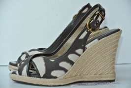 Print Banana Republic Peep M Womens Wedge Sz Sandals 6 Animal Toe Heel WYZWOBx
