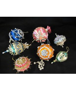 7 Vintage Beaded Sequin Push Pin Hand Made Christmas Tree Ornaments - $14.99