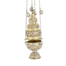 High Polished Two Colored Brass Christian Church Thurible Incense Burner Censer  - $99.97