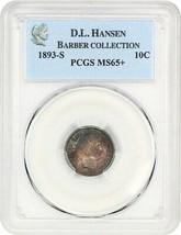 1893-S 10c PCGS MS65+ ex: D.L. Hansen - Colorful Toning - Barber Dime - $2,570.50