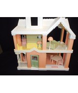 1991 Playskool VICTORIAN DOLLHOUSE pnk white with furniture Grd Piano Co... - $299.95