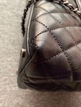 AUTHENTIC CHANEL QUILTED BLACK CAVIAR LARGE COCO PYTHON HANDLE BAG RECEIPT RHW image 6