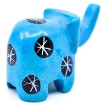 Tabaka Chigware Hand Carved Kisii Soapstone Mini Light Blue Elephant Figurine image 3