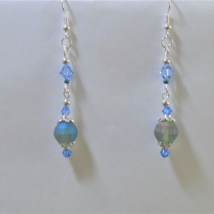 Dangle earrings AB faceted Glass Womens handmade fashion Bohemian earrings - $6.00