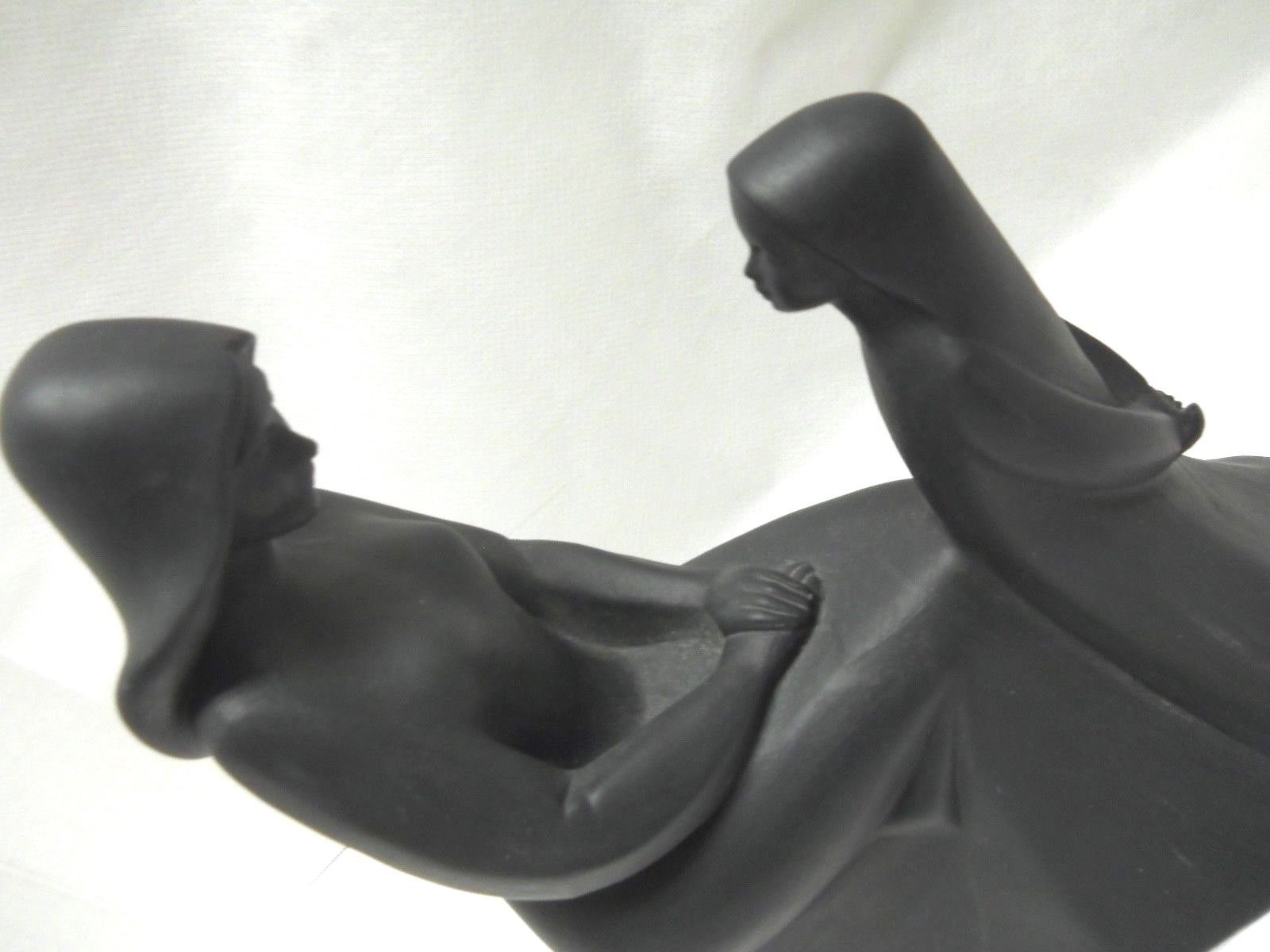 Vintage Royal Doulton Mother and Daughter Figurine in Rare Black image 3