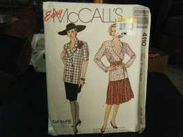 McCall's 4110 Misses Unlined Jacket & Skirt Pattern - Size 16/18/20 - $8.41