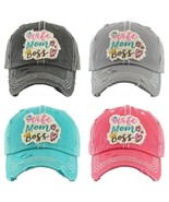 """WIFE MOM BOSS"" Embroidered, Vintage Style Ball Cap with Washed-look - $19.99"