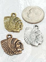 AMERICAN INDIAN PROFILE FINE PEWTER PENDANT CHARM 14mm L x 18mm W x 2mm D image 2