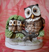 Vintage Owl & 2 Baby Owls Figurine Homco 4 inches tall x 4 inches wide - $11.29