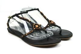 Cole Haan Women's Black Leather Flat T-Strap Sandals Size 10 B - $29.57