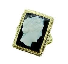 14k White Gold Filigree Genuine Natural Stone Agate Cameo Ring (#J4694) - $361.25