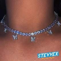 Luxury Diamond Butterfly Necklace Pendant Rhinestone Jewelry for Women B... - $22.99