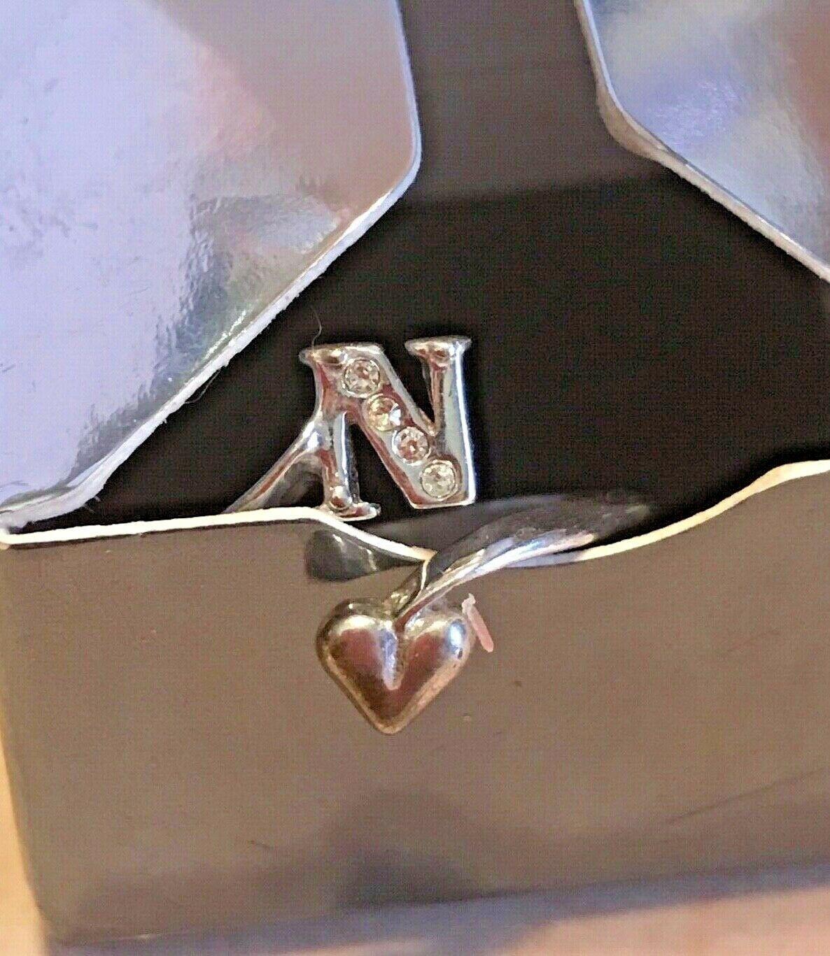 """Vintage Avon Initial """"N"""" 925 Sterling Silver Ring w Gemstones Adjustable image 7"""