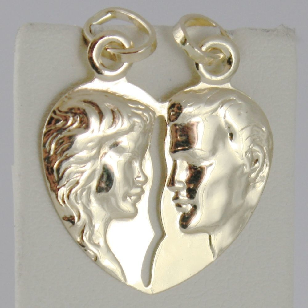 18K YELLOW GOLD DOUBLE BROKEN HEART PENDANT CHARM MAN WOMAN 29 mm MADE IN ITALY