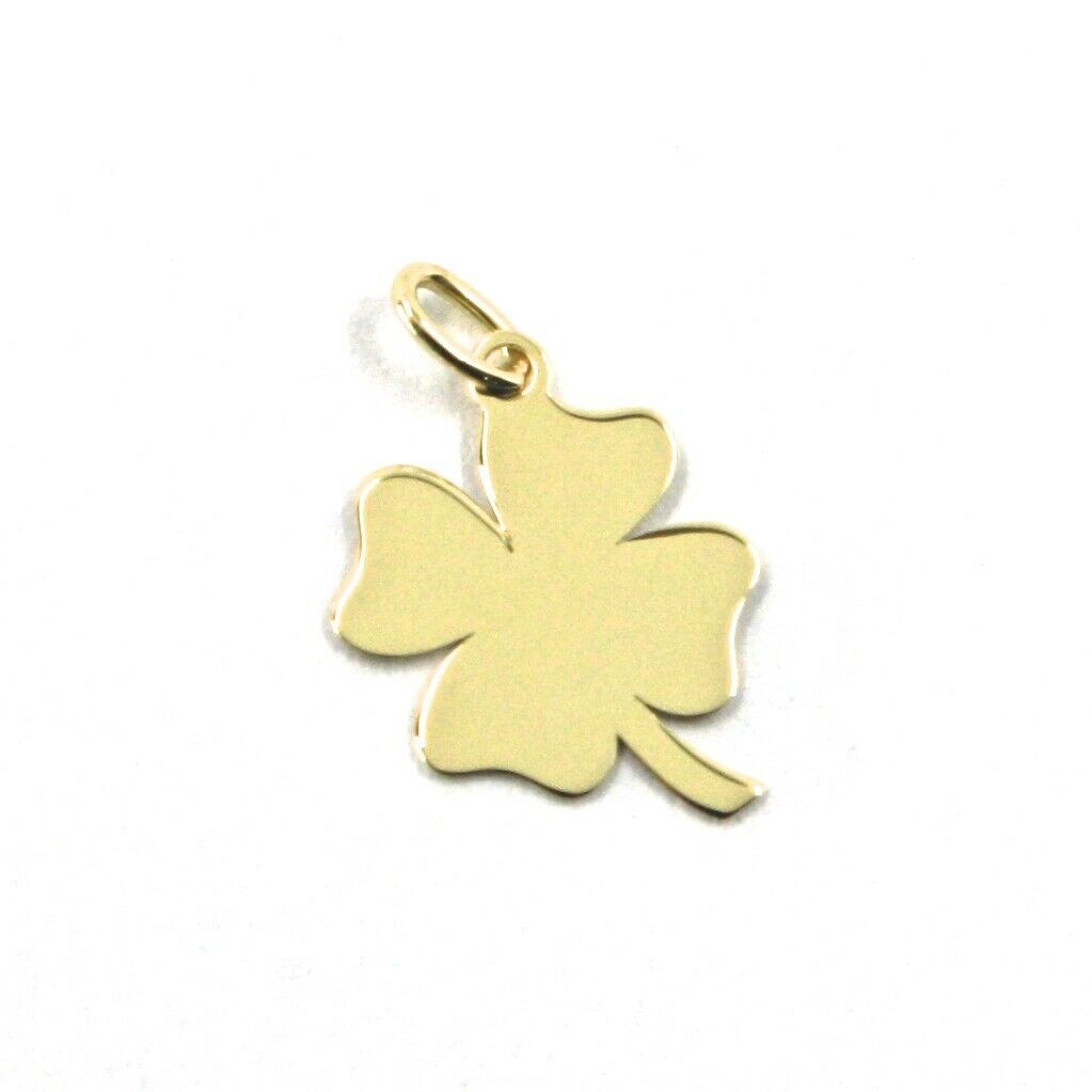 SOLID 18K YELLOW GOLD PENDANT MINI FLAT FOUR LEAF LENGTH 1.3 CM 0.4 INCHES CHARM