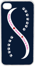 Navy Blue and White Infinity Paw with Four Pink Custom Names on iPhone 4... - $15.95