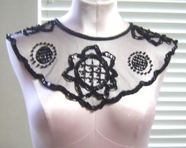 Vintage Sheer Beaded Black Floral Collar  - $24.99