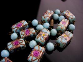 Vintage Venetian Necklace - baby blue murano Glass - wedding cake choker... - $155.00