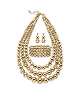 """Gold Tone Beaded 3-Piece Necklace, Earring and Stretch Bracelet Set 17""""-... - $39.99"""