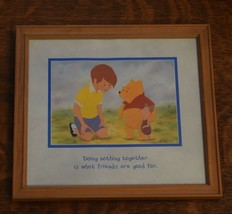 Winnie the Pooh Framed Art Doing Nothing Together Friends 11x10 Disney P... - $9.89