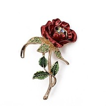 BEAUTY Red Rose Brooch Retro Flower Alloy Crystal Jewelry for Man and Lady - $9.93