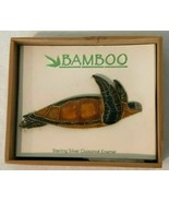 Sterling Silver Cloisonne Sea Turtle Pin Bamboo Jewelry Green Brown Gift... - $49.99