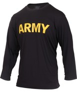 Black Performance Moisture Wicking US ARMY PT Workout APFU Long Sleeve T... - $19.99+