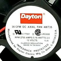 LOT OF 2 NIB DAYTON 4WT35 DC AXIAL FANS RPM 2700 AMPS 0.16 WATTS 2.0, 12 VOLTS image 2