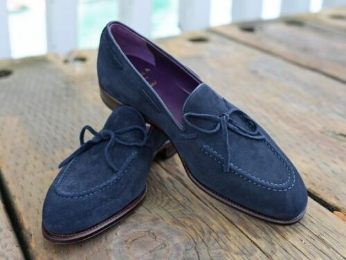 Handmade Men's Blue Suede Slip Ons Loafer Tassel Suede Shoes