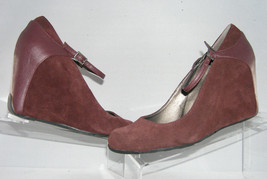 Kenneth Cole Reaction 'Tell Me Later' suede patent mary jane wedge heel 10M - $8.95