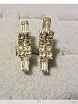 Screw Back Earrings Art Deco Rhinestone Crystal Silver Vintage - $7.87