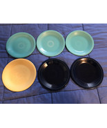 "Six SALAD Bistro PLATE FIESTA 7 1/4"" - Blue/Teal/Yellow - Used - $16.03"