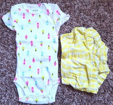 Girl's Size NB Newborn 2 Pc Carter's White Popsicle NWOT Top & Garanimal... - $15.50