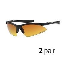 2 PC HD Driving Wrap Sunglasses Golf Vision Blue Blocker High Definition MATTE d - $11.87