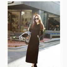 Women Drawstrings Hooded Dress Long Sleeves Half Mid Calf Length Kangaroo Pocket - $17.98