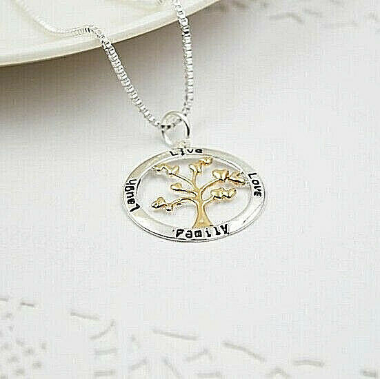 Primary image for LAUGH LIVE LOVE FAMILY with Gold Accents Pendant Necklace Sterling Silver NEW