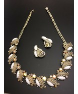 Vintage Signed Dore Rhinestone Milk Glass Necklace Clip Earring Set Leaf... - $38.62