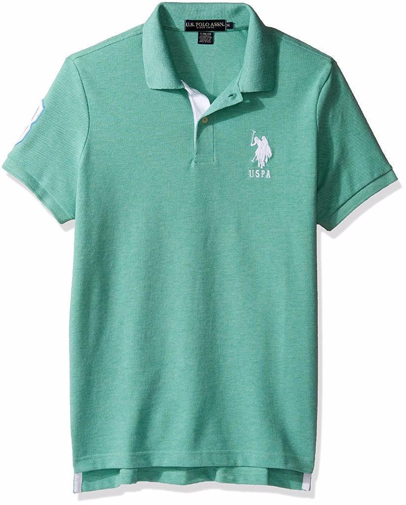 US Polo Assn Men's Short Sleeve Solid Slim Fit Pique Polo T-Shirt Green 11654388